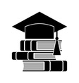 Celebrating graduating hat and books vector image
