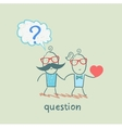 man with a question mark goes with a girl with a vector image