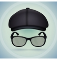 Black cap and eyeglasses vector image vector image
