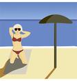 Girl beach vector image