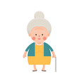 Senior Woman in Yellow Dress with Walking Stick vector image