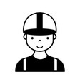 contour profesional man worker with cap and vector image