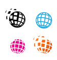 digital globe icon in silhouette style vector image