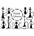hookah icon set black silhouette outline style vector image