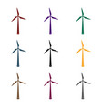wind energy turbine icon in black style isolated vector image