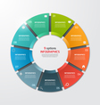 pie chart infographic template 9 options vector image