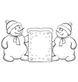 snowmen boys with sign contours vector image