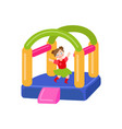 flat bouncy inflatable castle and girl vector image