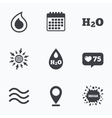 H2O Water drop icons Tear or Oil symbols vector image