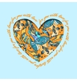 Love card Turquoise orange heart design with vector image