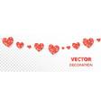 red hearts frame seamless border glitter vector image