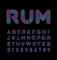 Neon font alphabet with neon stripes effect vector image
