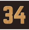 Sans serif geometric font with wood texture vector image