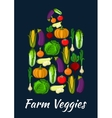 Farm veggies symbol of fresh organic vegetables vector image