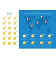 Global Infographics Map and Pie Chart vector image