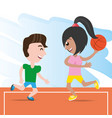 happy couple athlete playing basketball vector image