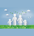 paper family on the grass fiel vector image