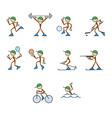 set of stylized sportsmen vector image