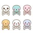 Set of kawaii skulls with different facial vector image