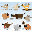 cartoon dogs set vector image vector image