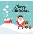 Santa and elf cartoon icon Merry Christmas vector image