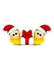 Christmas card with chickens in Santa hat vector image
