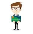 Man holding a bank card - vector image