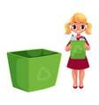 girl throwing plastic bottles into trash bin vector image