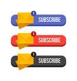 modern flat subscribe butoons set vector image