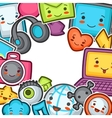Kawaii gadgets social network background Doodles vector image