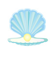 Blue seashell with pearl vector image
