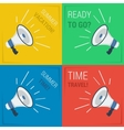 Four megaphone with slogans vector image