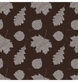 Scribble leaves seamless autumn pattern vector image