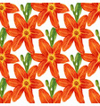 seamless pattern with watercolor flowers lilies vector image