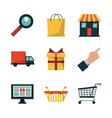 white background with icons set for shopping vector image