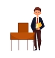 Clever school boy sitting at the desk with open vector image