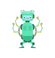 Green Friendly Android Robot Character With Four vector image
