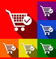 shopping cart with check mark sign  set of vector image