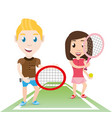 happy couple athlete playing tennis vector image
