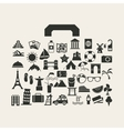 travel suitcase with many icon vector image