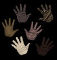 six scribbled hands vector image vector image