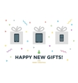 Happy New Gifts Christmas Card with Gadget in vector image
