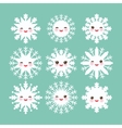 Kawaii snowflake set white funny face with eyes vector image