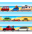 Cars parked on the road vector image