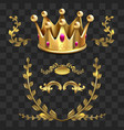 golden heraldic elements kings crown vector image