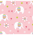 seamless pattern with cute elephants and flowers vector image