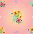 seamless pattern with decorative plants 2 vector image