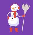 snowman cute cartoon winter christmas vector image