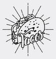tacos mexican food card retro style vector image