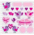 Scrapbook elements with hearts and birds vector image vector image